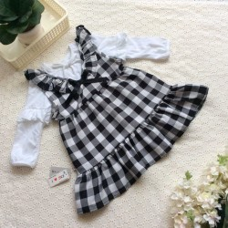 Autumn and winter plaid dress combo for girls