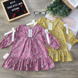 Autumn girl dress with bow tie