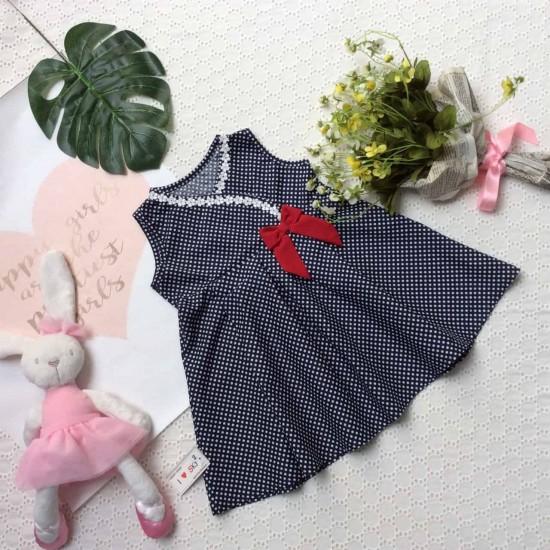 Váy chấm bi cổ chéo ren hoa nơ ngực -VC29205