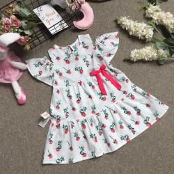Váy thô hoa nơ eo 2 tầng vai trễ  size 4-8