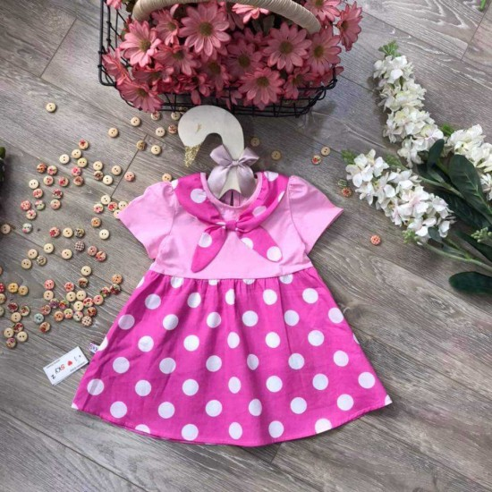 Dot neck dress with bow tie size 2-6- v5015