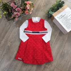 Polka dot red dress - V1715125