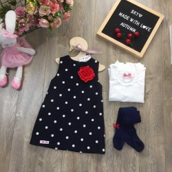 Polka dot dress with tiny flowers - v16151214