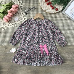 Children's dress with bow tie - size 2-8